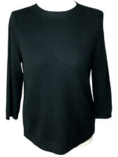 Talbots petite large sweater black 3/4 sleeve 100% cashmere crew neck