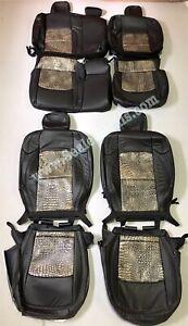 2020 2021 Jeep Gladiator Black and Bayou Alligator Katzkin Leather Seat Covers