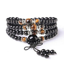 6mm 108 Tiger-eye Buddhist obsidian Prayer Beads Mala stone Bracelet & Necklace