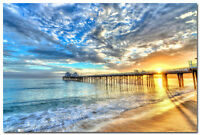 Sunset Clouds Around The Pier Art Silk Wall Poster 24x36 inch Large Print