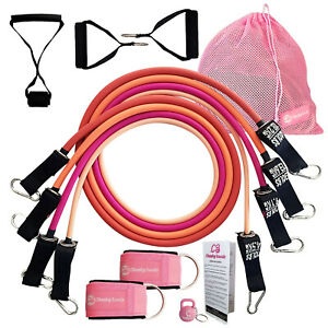 Resistance Bands Set Home Gym Exercise Workout Tubes With Handles Door Anchor
