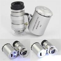 60x Vergrößerung LED Taschenmikroskop Schmuck Lupe Glas Lupe e PAL Gift L0Z1