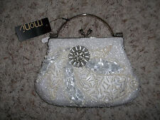 NWT Beautiful Heavily Beaded Pearls Rhinestones MONI Beige & White Bridal Purse