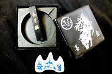 JAPANESE SUMI BLACK INK STICK STONE DISH BOX W BRUSH REST WRITING PAINTING CRAFT