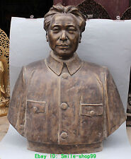 "30"" Chinese Bronze  Great Leader Founder Mao Zedong Chairman Head Bust Sculpture"