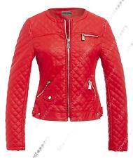 Size 8 10 12 14 NEW Womens BIKER JACKET Crop FAUX LEATHER Ladies ZIP Coat