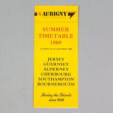 Aurigny Aria Servizi - Estate Timetable (tabella Orari) 1989