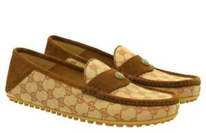 NEW GUCCI BEIGE GG CANVAS LEATHER MOCCASINS DRIVER SHOES 8.5 G/US 9