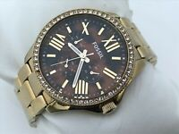 Fossil Women Watch Crystal Accents Gold Tone Multi Function Analog Wrist Watch