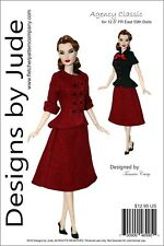 "Agency Classic Doll Clothes Sewing Pattern 12.5"" Fashion Royalty East 59th Dolls"