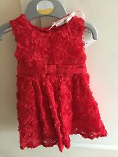Red Flower Girl Dress Occasion Dress 3-6months RRP£20 Perfect Christmas Dress