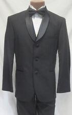 50R Mens Black Wool Satin Shawl Lapel Relaxed Fit Tuxedo Jacket Black Tie Formal