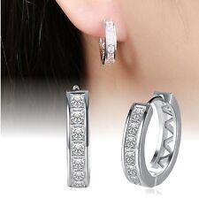 1 Paar Creolen Ohrringe 925 Sterling Silber Plated 7 Zirkonia Damen Ohrstecker