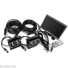 """2 CCD 4PIN IR Cameras + 7"""" LCD Rear View Monitor For HGV Reversing Lorry Truck"""