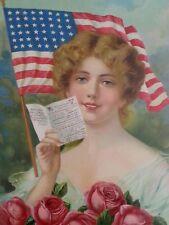 Antique WW1 patriotic Americana lithograph print 20×14.5 inches