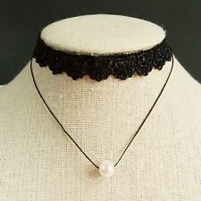 Lonely Pearl Black Lace Two Layers Choker Necklace