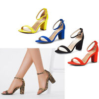 Women's Ladies Low Block Heel Ankle Strap Open Toe Party Dress Pump Shoes Size