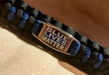 Blue Lives Matter POLICE Thin Blue Line END OF WATCH Paracord Key Fob Carabiner