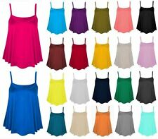 Womens Plain Cami Swing Vest Top Sleeveless Strappy Ladies Flared Plus Size Top