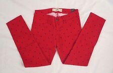 NWT Hollister Womens Skinny Jeans Capris Jeggings Pants Size 0 Polka Dot Red