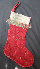 "Christmas Stocking CHENILLE Red  Tapestry Trim  Fringe  17""  with Gold Tone"