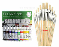 12 PC ASSORTED WOODEN HANDLE ARTIST's BRUSHES + 10 TUBES OIL PAINT SET NEW