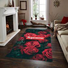 Supreme And Rose  Rug ,Fan Carpet Non Slip Floor Carpet,Teen' 3x5ft