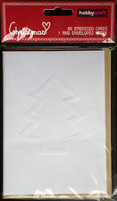 A6 EMBOSSED CARDS & ENVELOPES - CHRISTMAS TREE DESIGN PACK of 6 - NEW & PACKAGED