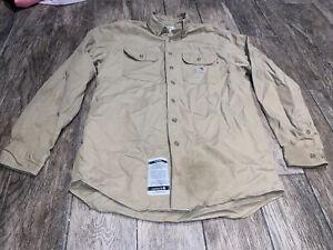 Carhartt Sz Medium button FR 2HRC Flame Reaistant Beige long sleeve Shirt men's