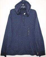 Polo Ralph Lauren Mens Navy Blue Striped Hoodie L/S Shirt NWT $99 Size S