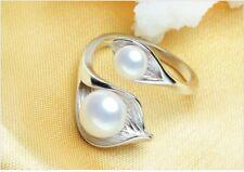 Ring Silber Perlring massiv echtes 925 Blätterform Größenverstellbar Fingerring