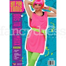 Rose chaud tunique 80's Rave Party Costume Robe Fantaisie Accessoire Nouveau