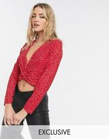 Wednesday's Girl Top Size S & M Red Long sleeve Wrap Front Ditsy Floral GJ40