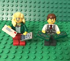 Lego Female Girl Bank Teller And Male Boy Manager Mini Figures,Money,cellphone