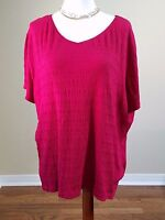 White Stag Womens Plus Size 2X Wine Short Sleeve Pullover Blouse Career