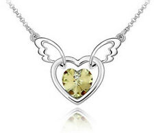NEW Womens Win Heart Yellow Crystal Rhinestone Silver Chain Pendant Necklace