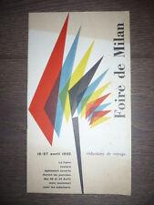 DÉPLIANT PUBLICITAIRE DÉBUT XXème FOIRE EXPOSITION INTERNATIONALE DE MILAN 1952