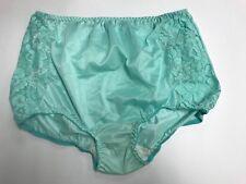 (2) VENTURA Plus Size Nylon & Lace Brief Panties Size 15 / 8X MINT GREEN