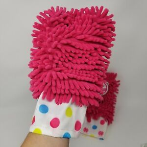 Microfiber duster glove pink 2 pack polka dots cleaning mitt blind fan blades