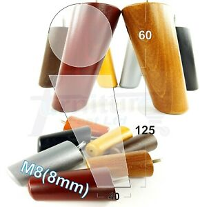 4x ANGLED WOODEN SETTEE LEGS 125mm High SOFA FURNITURE REPLACEMENT FEET M8(8mm)
