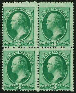 US Sc# 158 *MINT DOG NH SKIPS* { BLOCK OF 4 } 3c WASHINGTON OF 1873 CV$ 1260.00