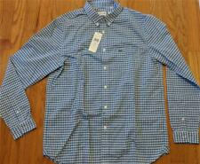Mens Lacoste Gingham Checked Button Down Woven Shirt Light Blue 44 XL $90