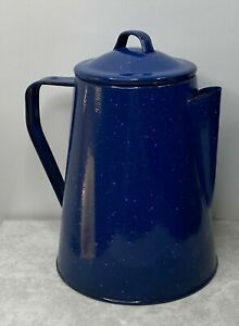 CS1 Vtg Stove Top Enamel Coffee Pot Percolator Blue Speckled Metal Camping Prep