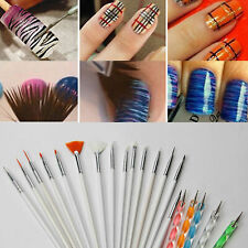 20Pc Nail Art Design Painting Dotting Detailing Pen Brushes Bundle Tool Kit US
