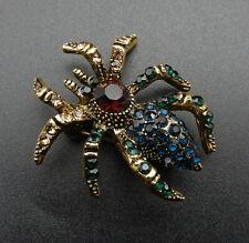Small Spider Brooch Pin Betsey Johnson Multi-Color Crystal