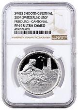 2004 Switzerland 50F Silver Shooting Thaler Fribourg-Cantonal NGC PF69 SKU41952