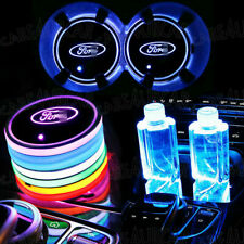 2pc Colorful Led Car Cup Holder Bottom Pad Mat Auto Atmosphere Fit For Ford