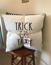 NWT 2 Rae Dunn Trick or Treat Zippered White & Checkered Throw Pillows