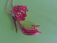 Fabulous GP RED Flowered Rhinestone Betsey High Heel Shoe Pendant Necklace