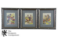 3 English Watercolors by Eugene Cambridge College Landscape Castle Gardens Frame